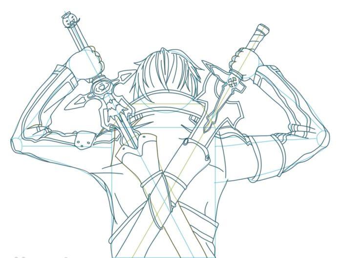 Рисовать Кирито из аниме 9