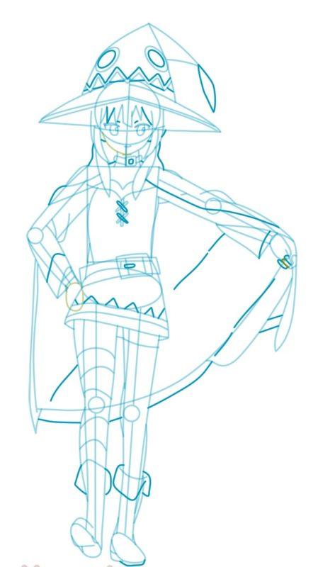 Как нарисовать Мэгумин из аниме 7