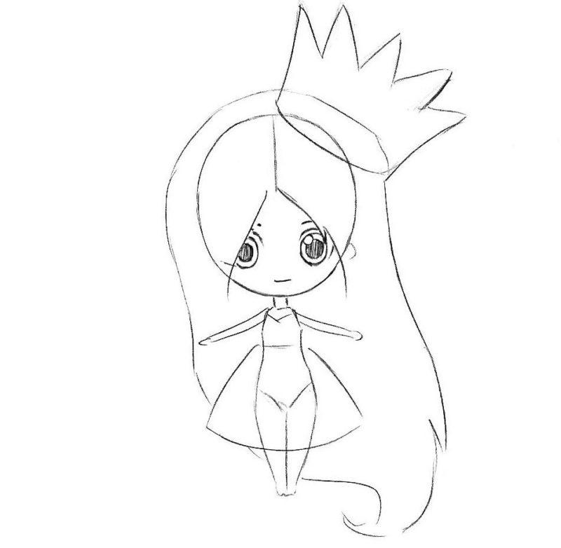 как нарисовать принцессу в стиле чиби 4