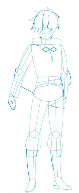 Как нарисовать Казуму Сато 5