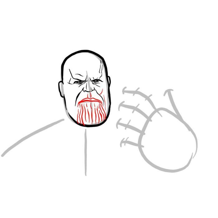 Рисуем поэтапно Таноса 6