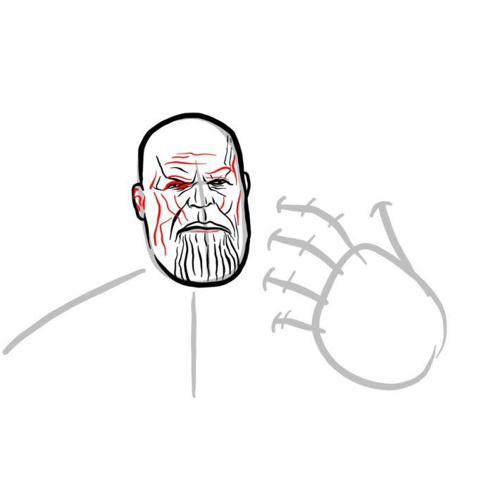 Рисуем поэтапно Таноса 7