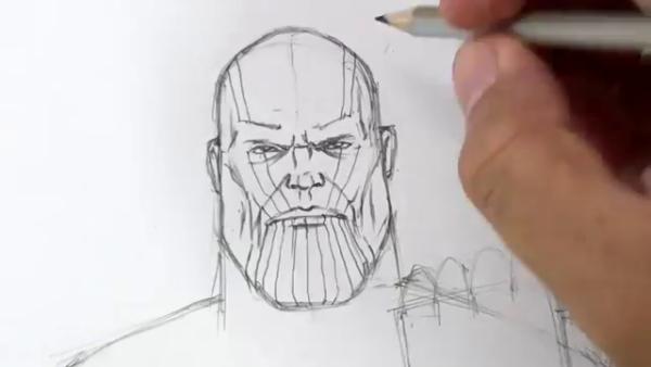 Как нарисовать Таноса из фильма 11