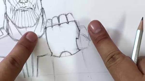 Как нарисовать Таноса из фильма 14