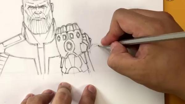 Как нарисовать Таноса из фильма 16