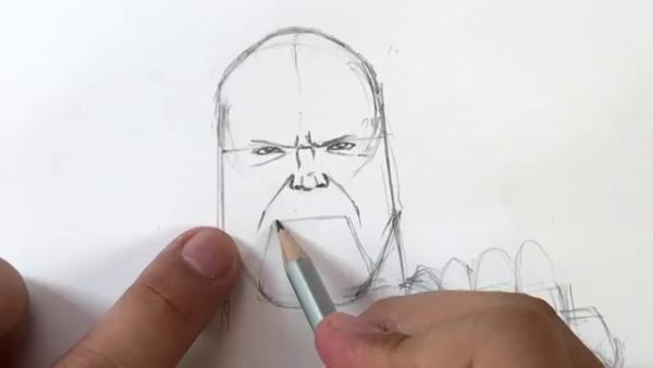 Как нарисовать Таноса из фильма 9