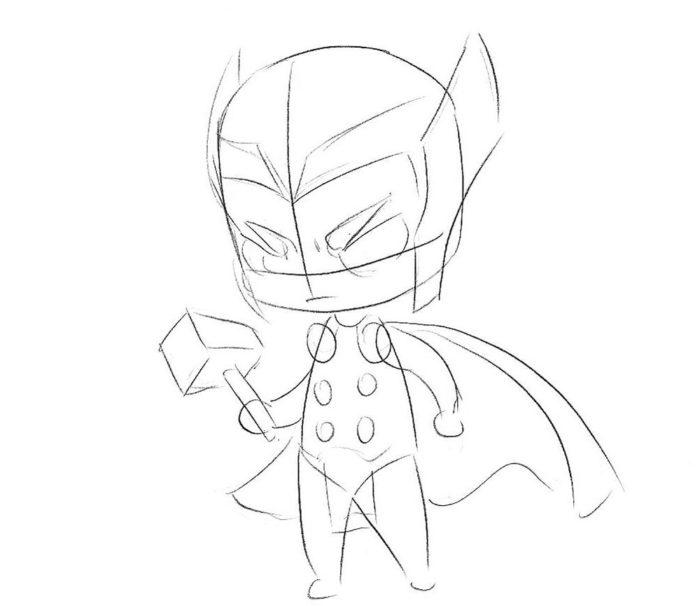 Как нарисовать Тора в стиле чиби 4