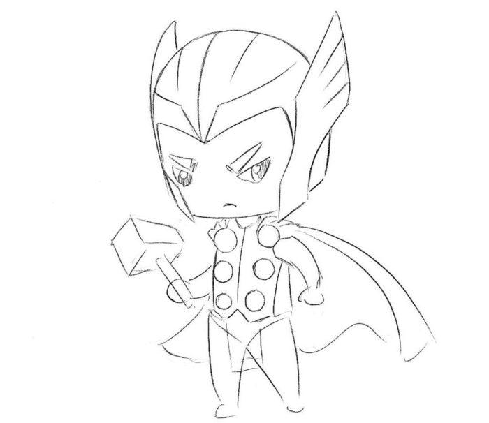Как нарисовать Тора в стиле чиби 7