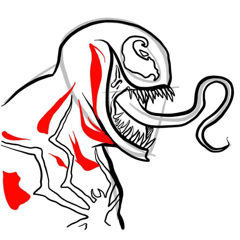 Рисуем голову Венома 11