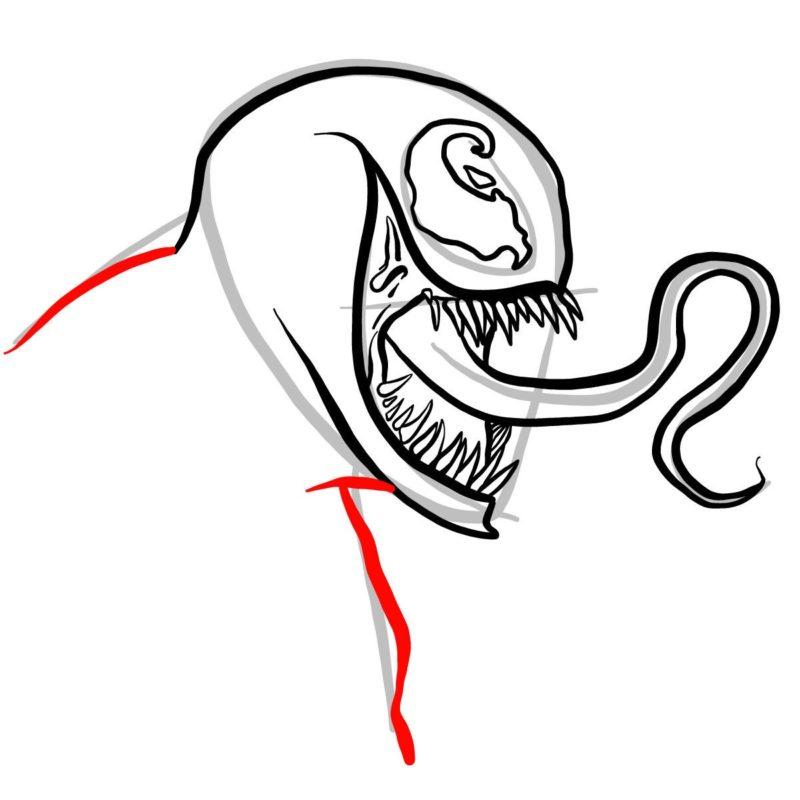 Рисуем голову Венома 9