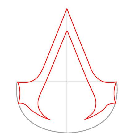 нарисовать знак ассасина из игрыAssasin's Creed 2