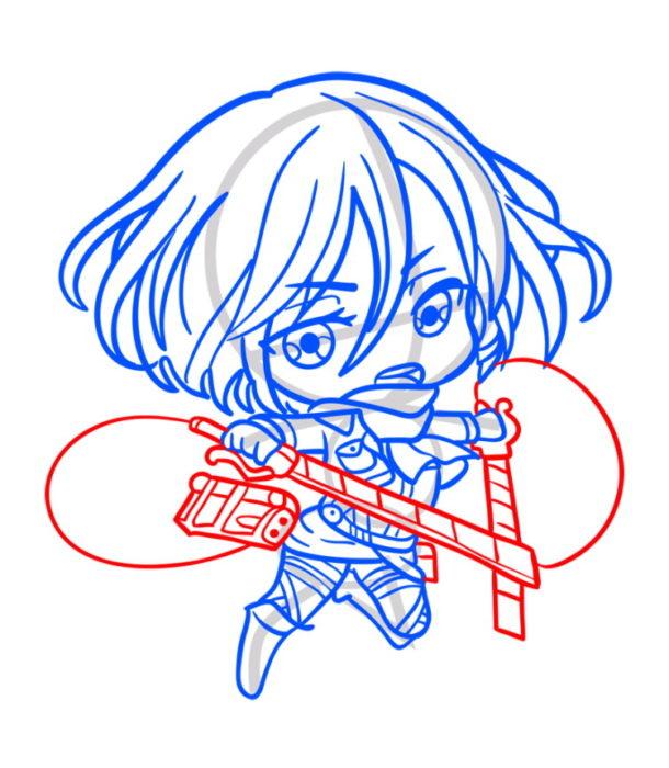 Как нарисовать Микасу из аниме 7