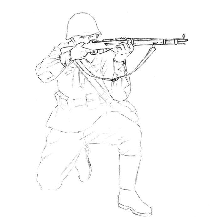 Как нарисовать советского солдата 10