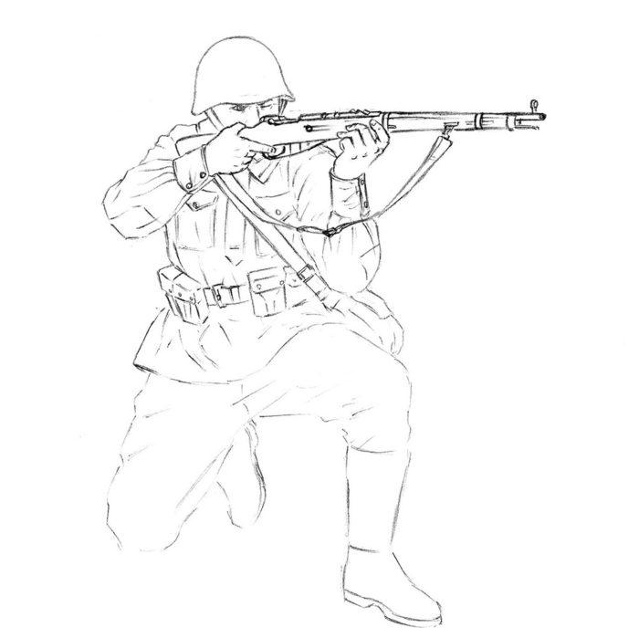 Как нарисовать советского солдата 11