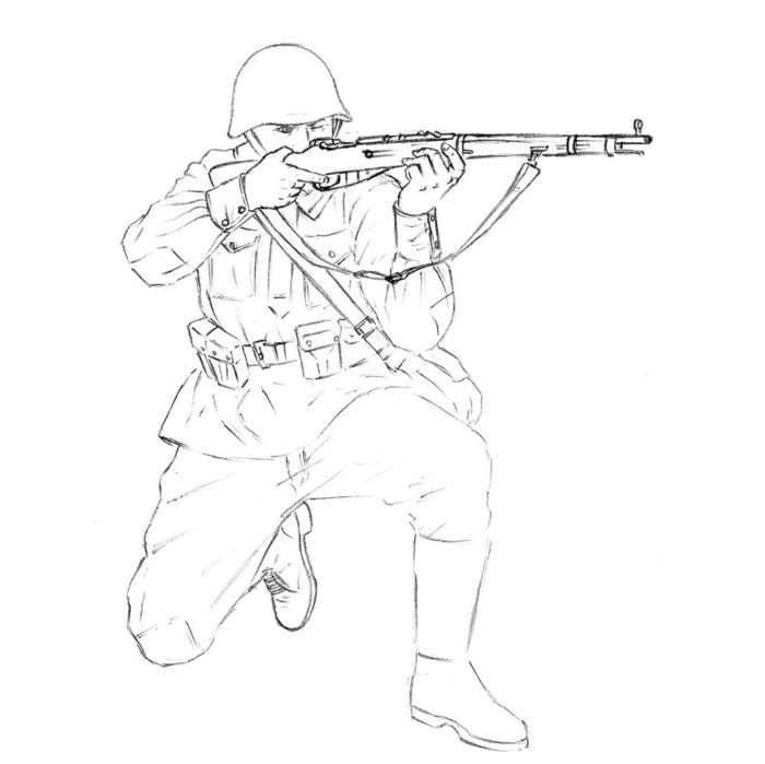 Как нарисовать советского солдата 12