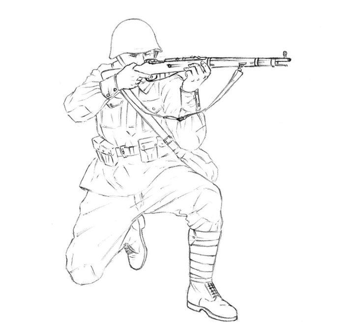 Как нарисовать советского солдата 13