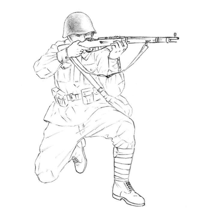 Как нарисовать советского солдата 14