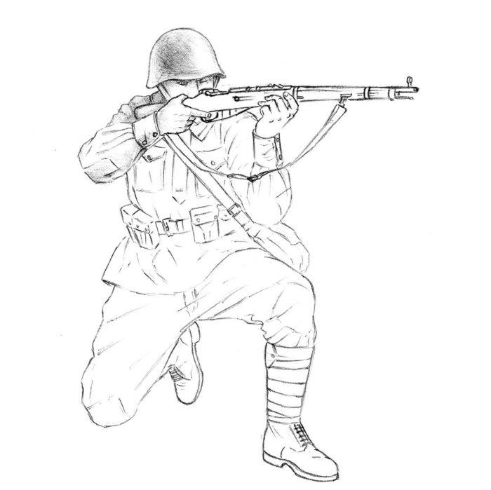 Как нарисовать советского солдата 15
