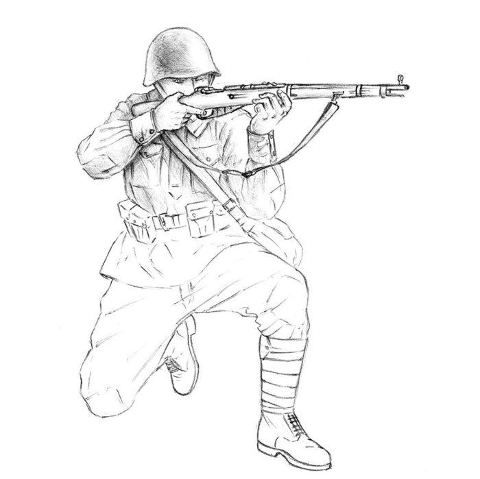 Как нарисовать советского солдата 16