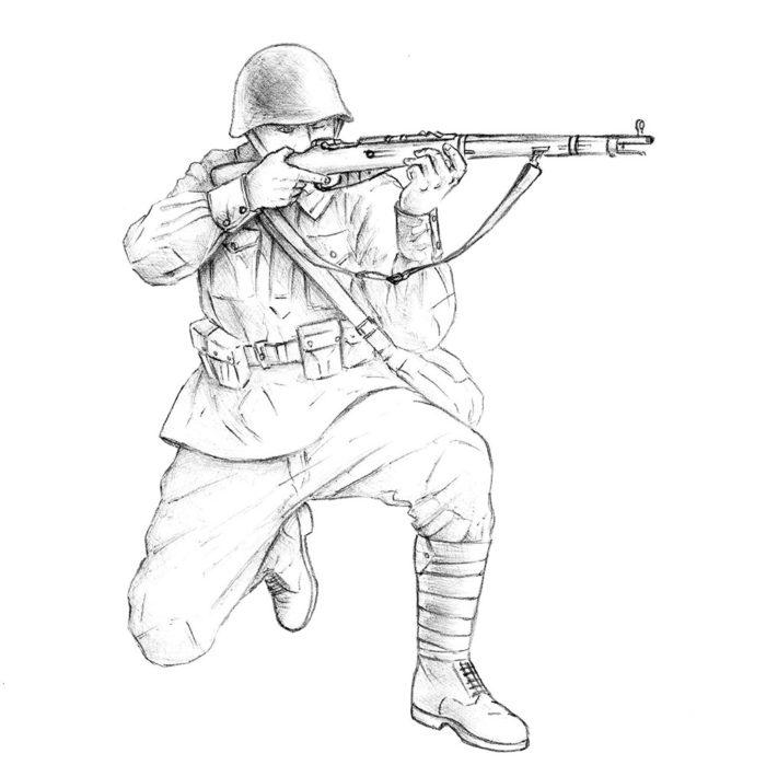 Как нарисовать советского солдата 17