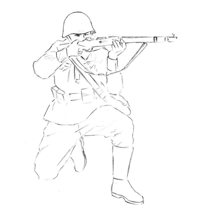 Как нарисовать советского солдата 7