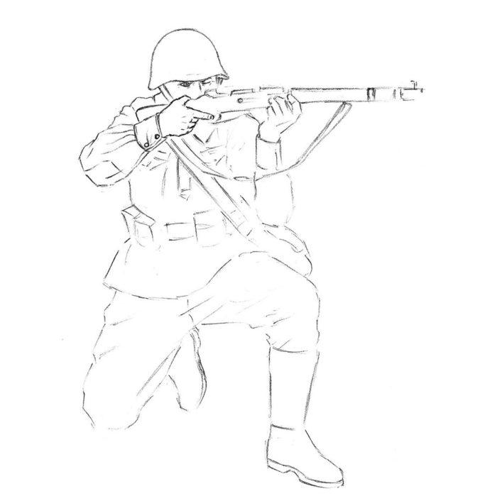 Как нарисовать советского солдата 8