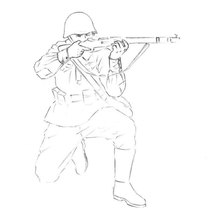 Как нарисовать советского солдата 9