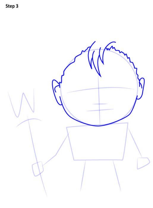 как поэтапно нарисовать Аквамена 3
