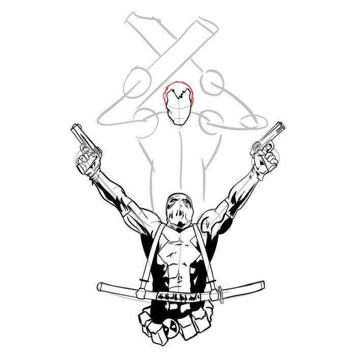 Как нарисовать Дедпула и Кейбла 13