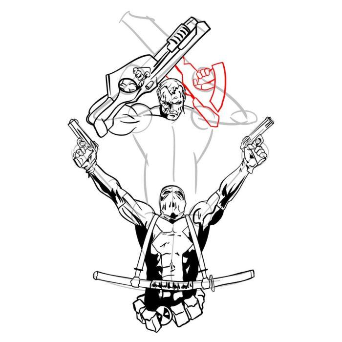 Как нарисовать Дедпула и Кейбла 20