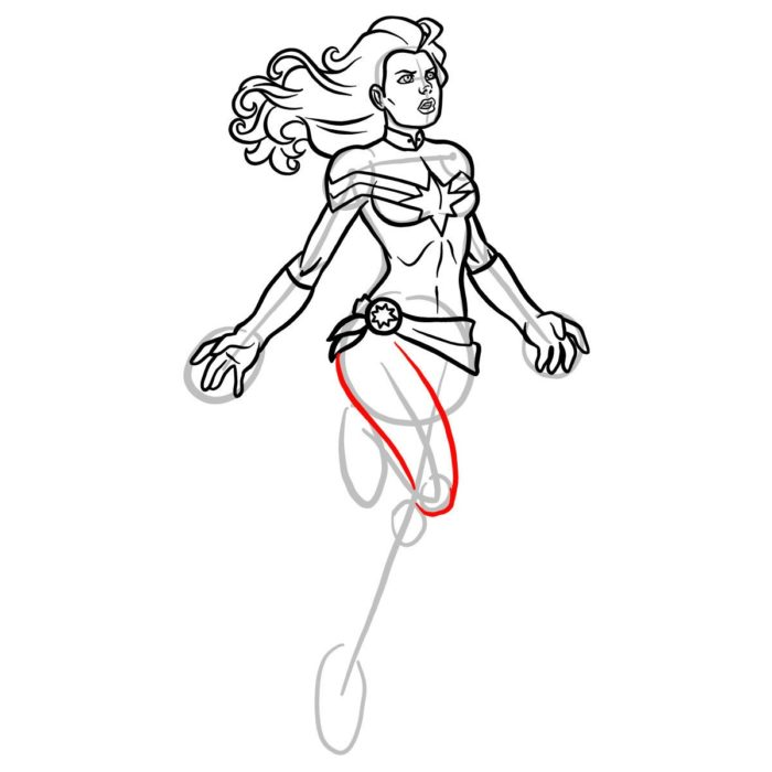 Как нарисовать Капитана Марвел 11