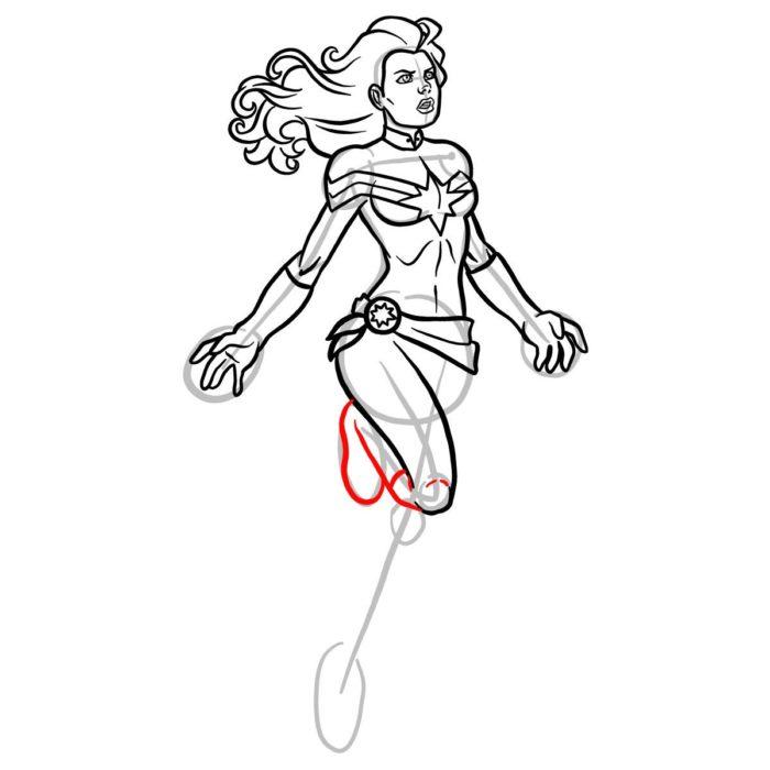 Как нарисовать Капитана Марвел 12