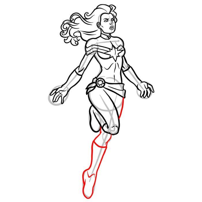 Как нарисовать Капитана Марвел 13