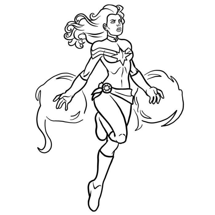 Как нарисовать Капитана Марвел 15