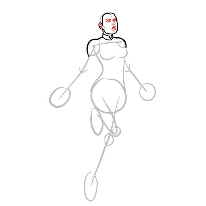 Как нарисовать Капитана Марвел 4