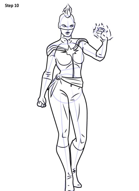 Рисуем Капитана Марвел из комикса 10