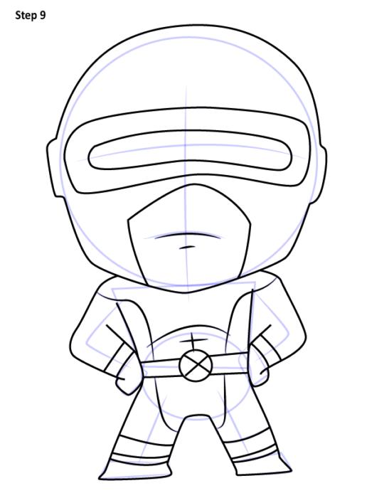 Рисуем Циклопа из комиксов 9
