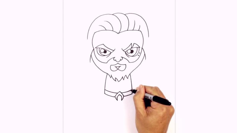 Как нарисовать Аквамена из фильма 11