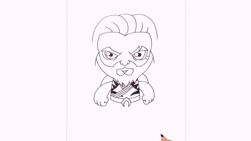 Как нарисовать Аквамена из фильма 16