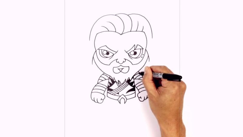 Как нарисовать Аквамена из фильма 17