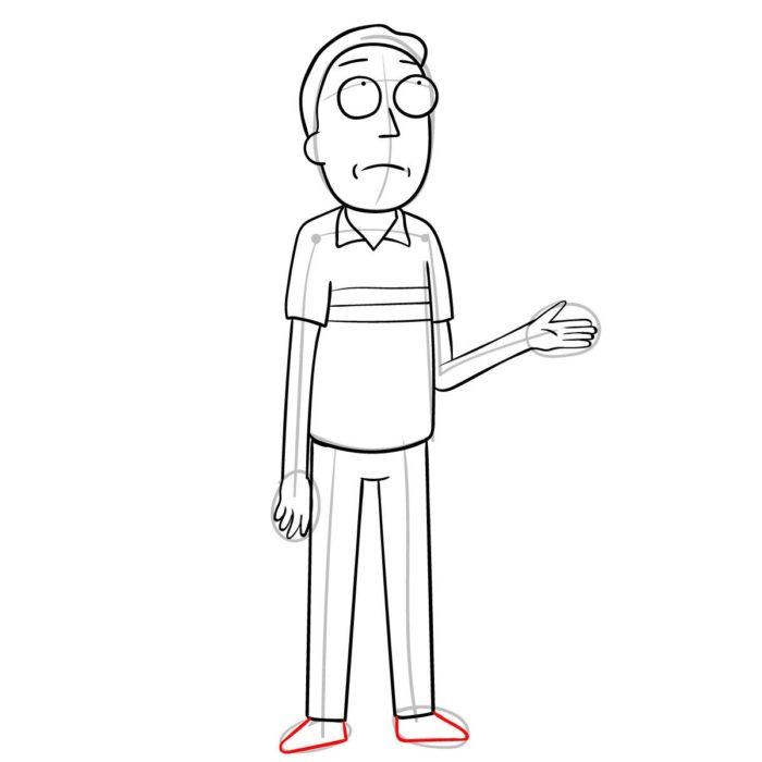 Как поэтапно нарисовать Джерри Смита 10