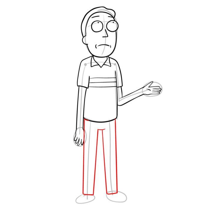 Как поэтапно нарисовать Джерри Смита 9