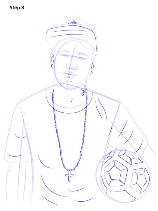 Как нарисовать футболиста Неймара 9