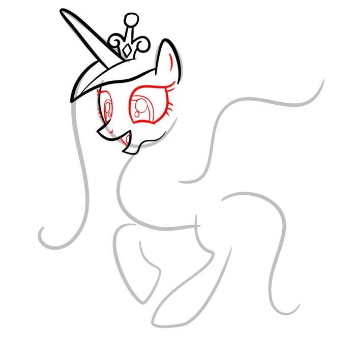 как поэтапно нарисовать принцессу Каденс 4