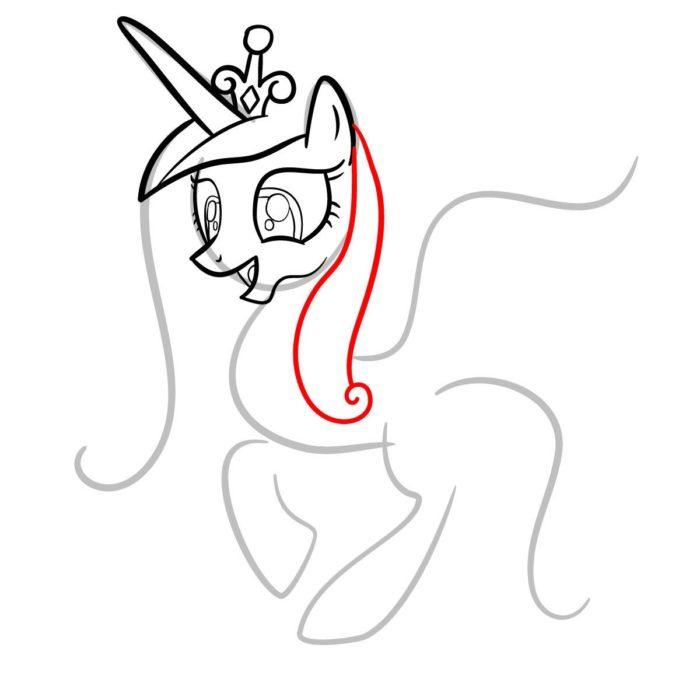 как поэтапно нарисовать принцессу Каденс 5