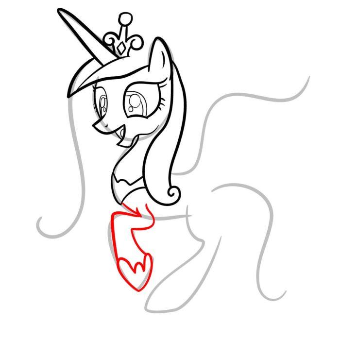 как поэтапно нарисовать принцессу Каденс 7