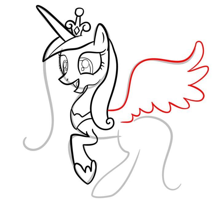 как поэтапно нарисовать принцессу Каденс 8