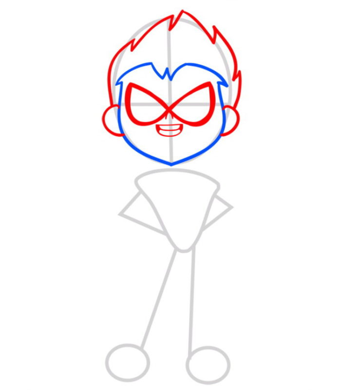 нарисовать Робина из Тин Титанс 3