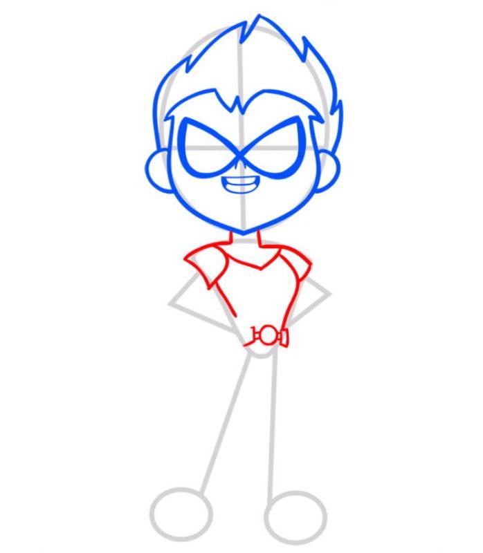 нарисовать Робина из Тин Титанс 4