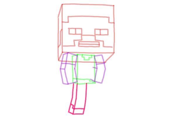 Как нарисовать Стива из Майнкрафта 7